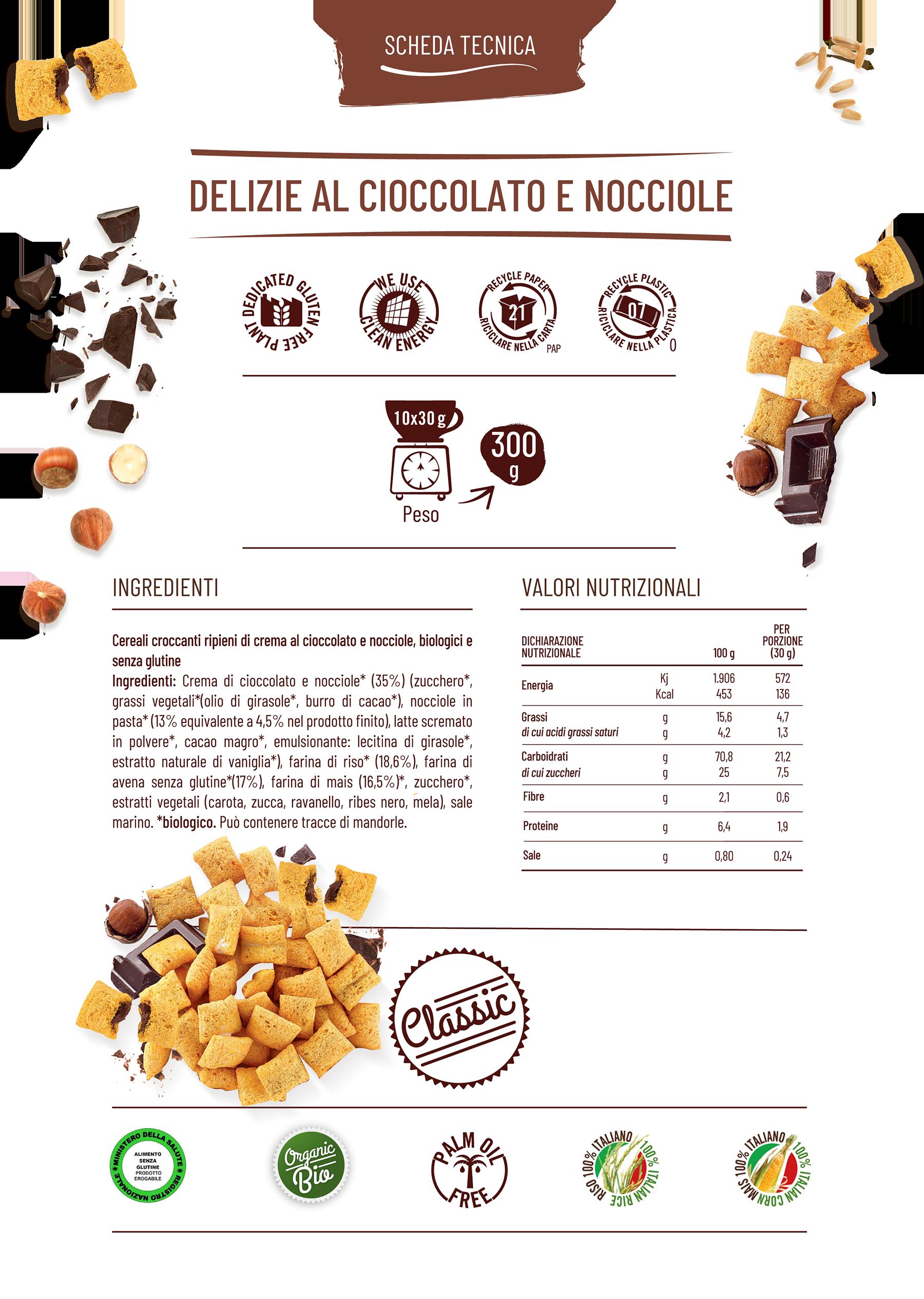 Delizie al cioccolato e nocciole gamma classic scheda tecnica