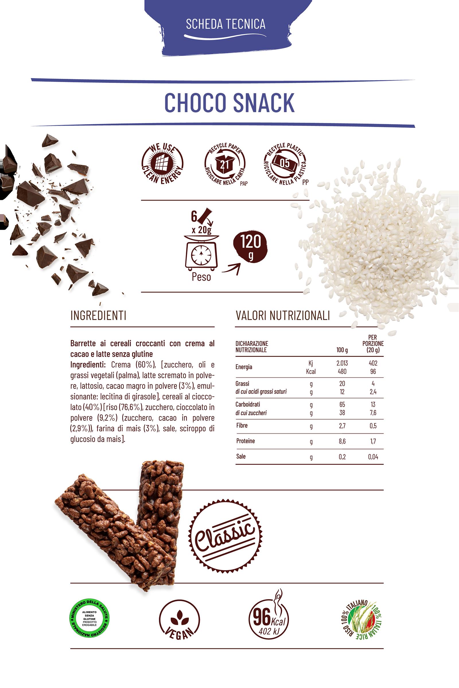 Choco snack con riso e cioccolato al latte