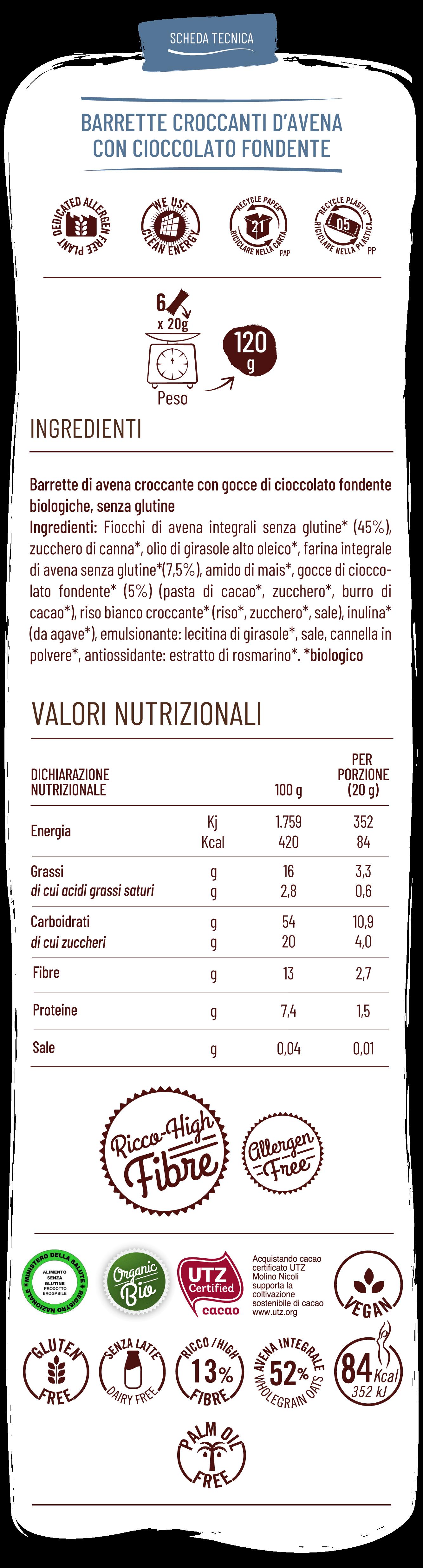 Vitabella Barrette croccanti d'avena con cioccolato fondente
