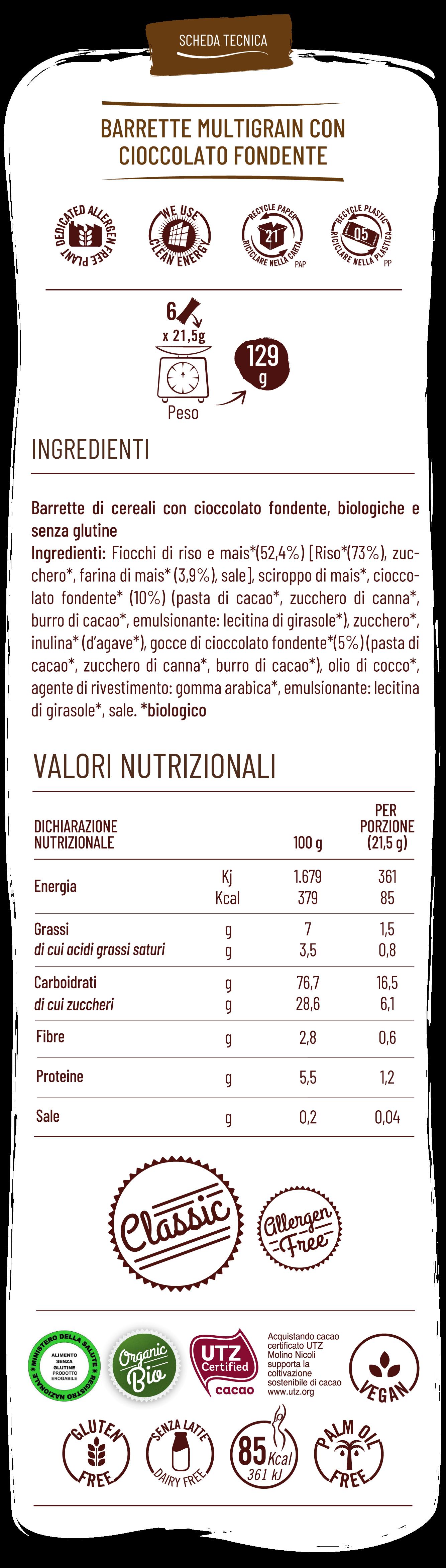 Vitabella Barrette multigrain con cioccolato fondente