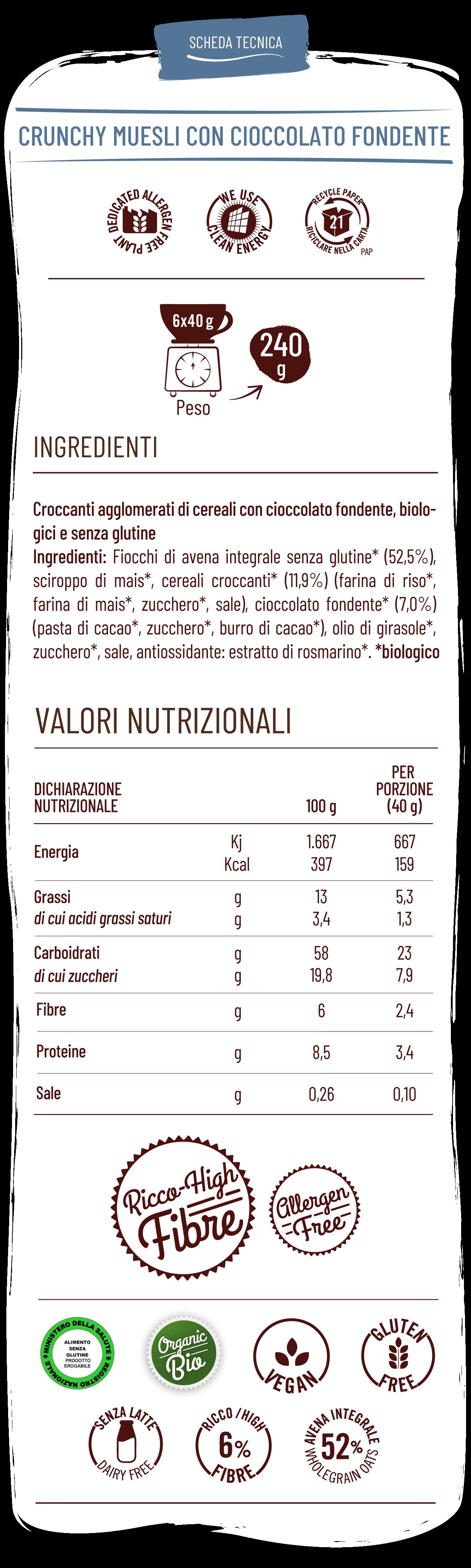 Vitabella crunchy muesli con cioccolato fondente