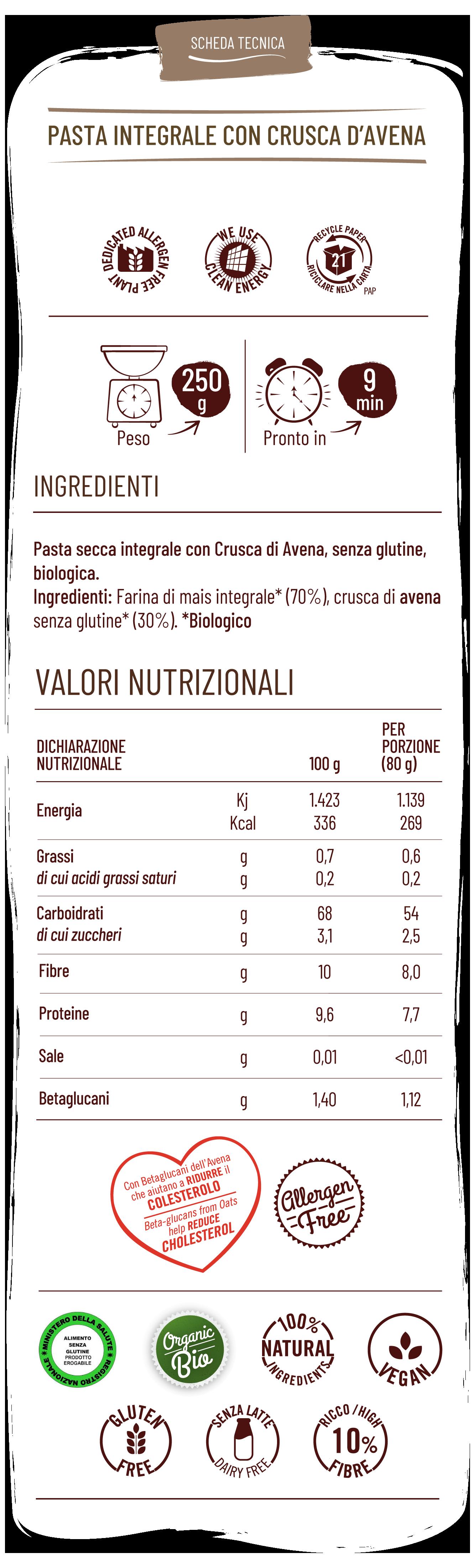 Vitabella pasta integrale con crusca d'avena